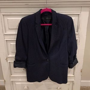 Womens Navy and White Spot Blazer
